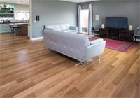 living room with white oak character rift and quartered hardwood floors