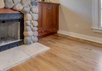 white oak engineered at fireplace