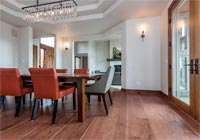 Formal dining room, reddish brown Hickory character engineered
