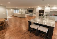 open floor plan hand scraped engineered Hickory
