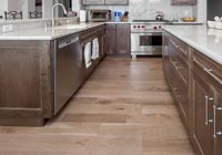 kitchen with white oak cerused hardwood