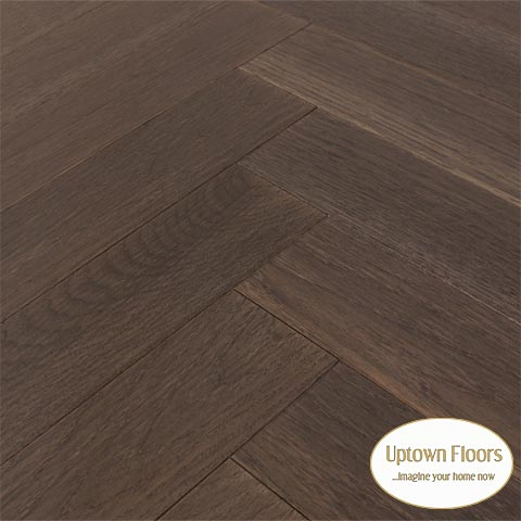 Black, grey wire brushed Hickory Herringbone