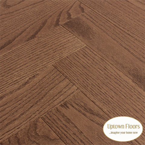 Medium brown clear red oak Herringbone