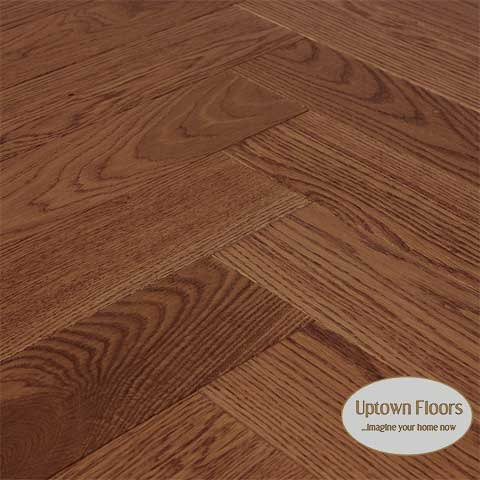 Rich Brown wire brushed white oak herringbone