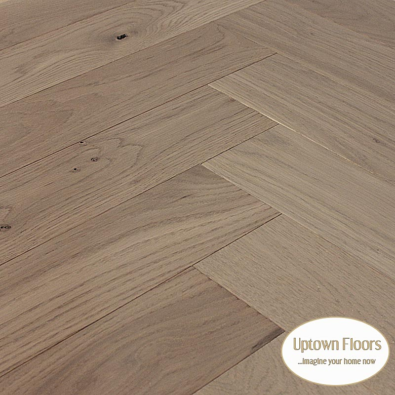 Grey, beige wire brushed white oak herringbone