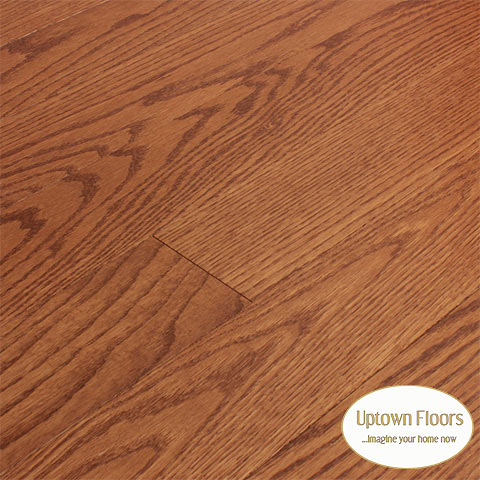 Muted red stained clear red oak