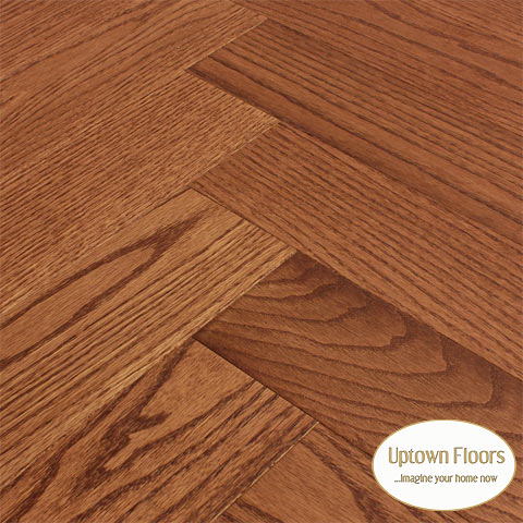 Muted red stained clear red oak Herringbone