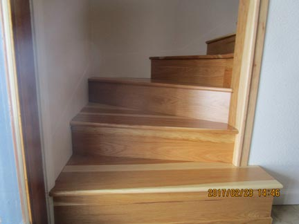 Several Larger Pie Shaped And Closed Treads From A Customer In California.  Also Included Are Stair Risers. Product Used: Hickory Reserve.