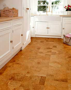 Laying cork floor tiles