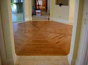 Large bamboo inset Travertine floor