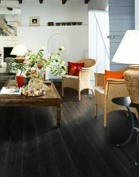 Black hardwood floors