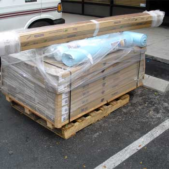 Residential Involves The Trucking Company Delivering Pallet Of Wood Flooring