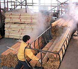 Carbonizing bamboo