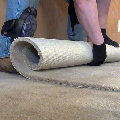 Rolling up carpet scraps