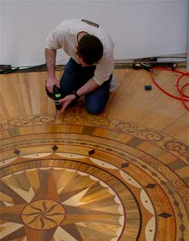 Custom Floors Are Typically Those That Are Installed, Custom Medallion With  Heart Pine