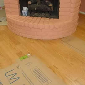 Hardwood under fireplace 2