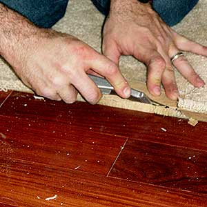 Trim carpet away from hardwood