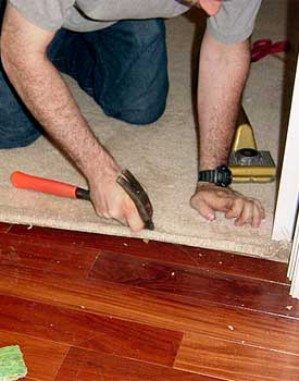 Installing carpet against hardwood floors step by step for How to replace hardwood floor strips