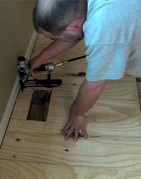 Installing thin plywood underlayment over old subfloor