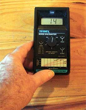 Moisture testing for hardwood floors concrete plywood for Wood floor moisture meter
