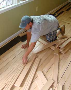 Racking out wood floor