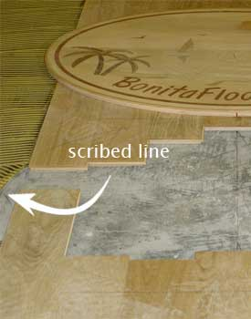 Scribed line for medallion cut out