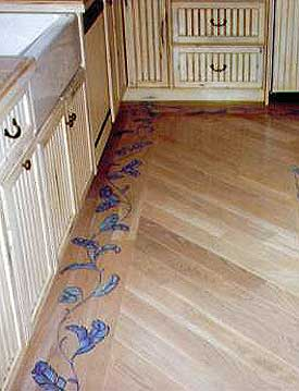 Stenciled wood floor border