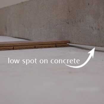 Taking Low Spot Concrete Slab