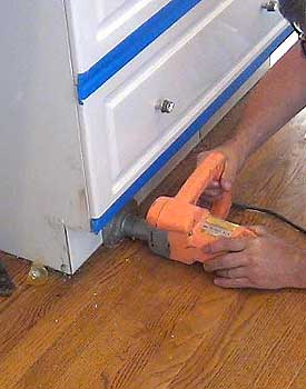 Cut off toe kick cabinets bing images for Wood floor 90 degree turn