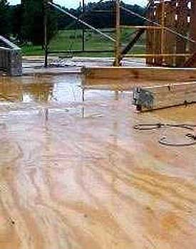 Rain soaked plywood